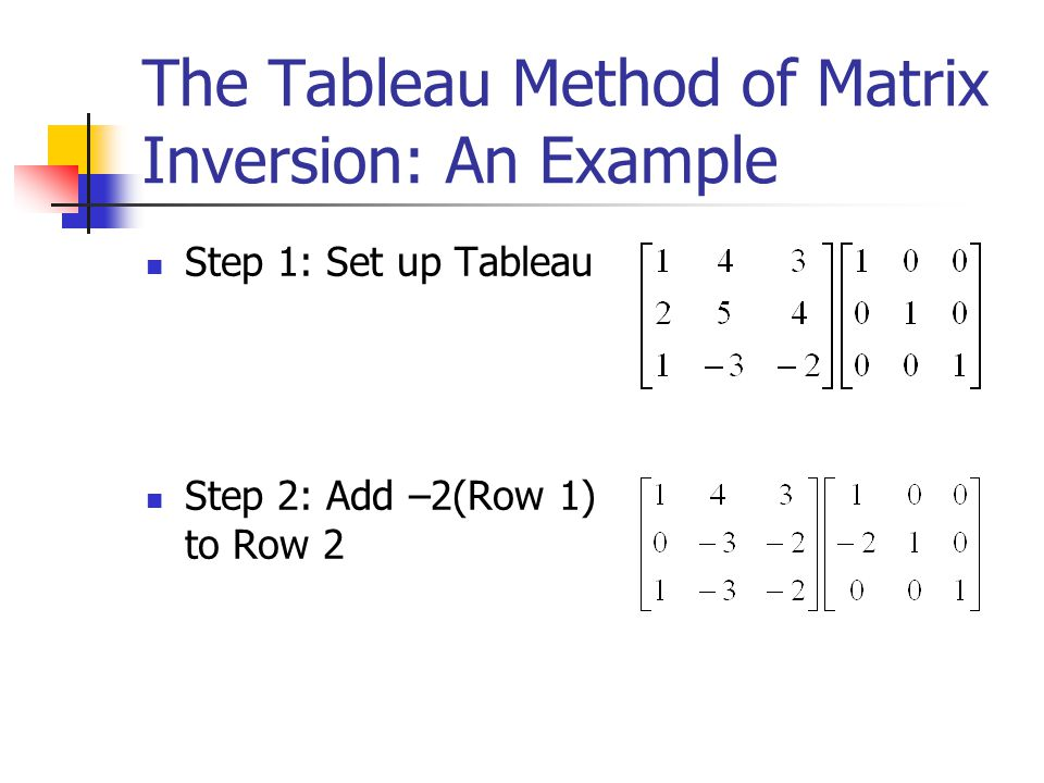 The Tableau Method of Matrix Inversion: An Example