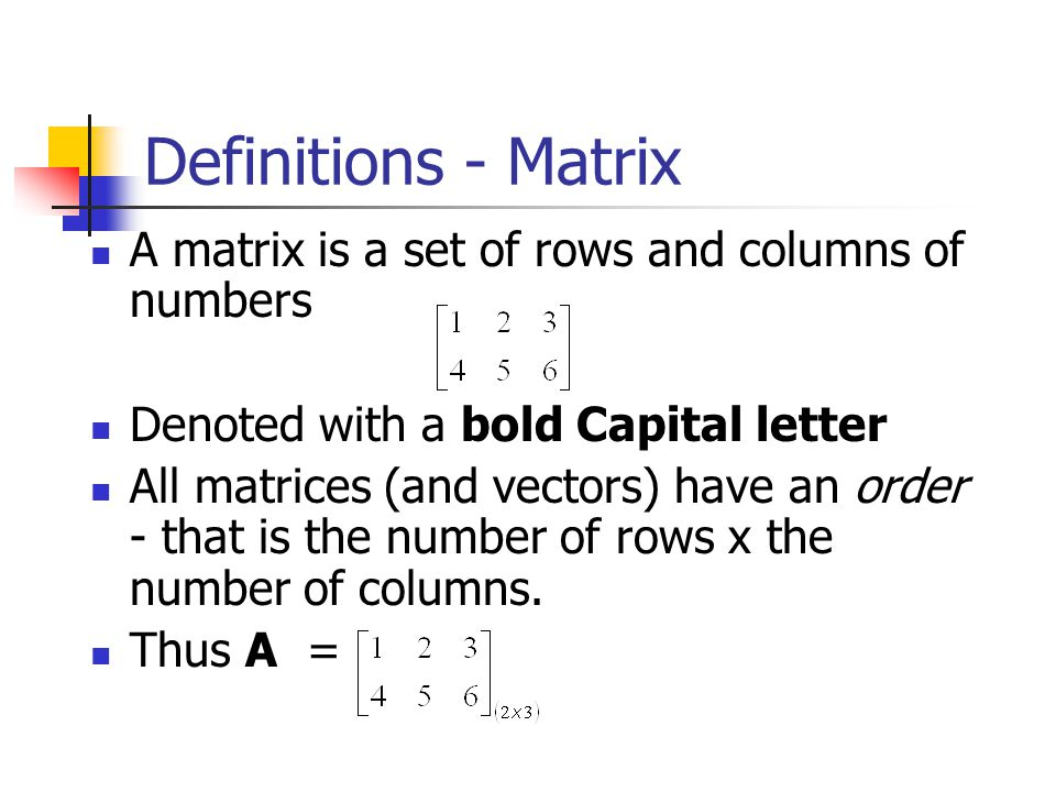 Definitions - Matrix A matrix is a set of rows and columns of numbers
