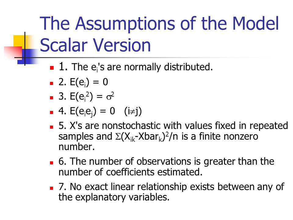 The Assumptions of the Model Scalar Version