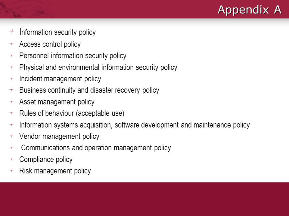 Appendix A Information security policy Access control policy