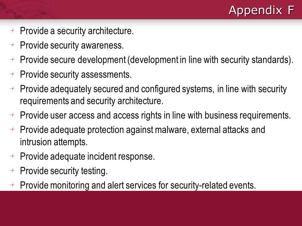 Appendix F Provide a security architecture.