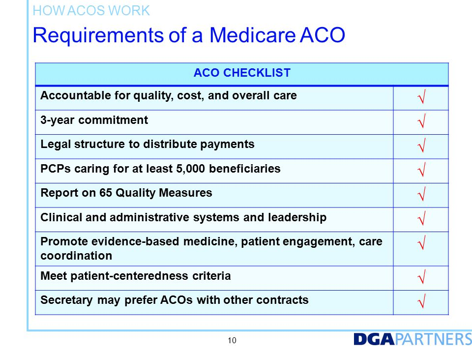 How ACOs Work Patient assignment. Based on primary care physicians (not NPs/PAs; not specialists)