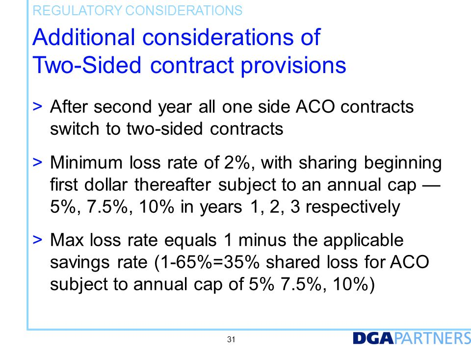 Additional considerations of Two-Sided contract provisions