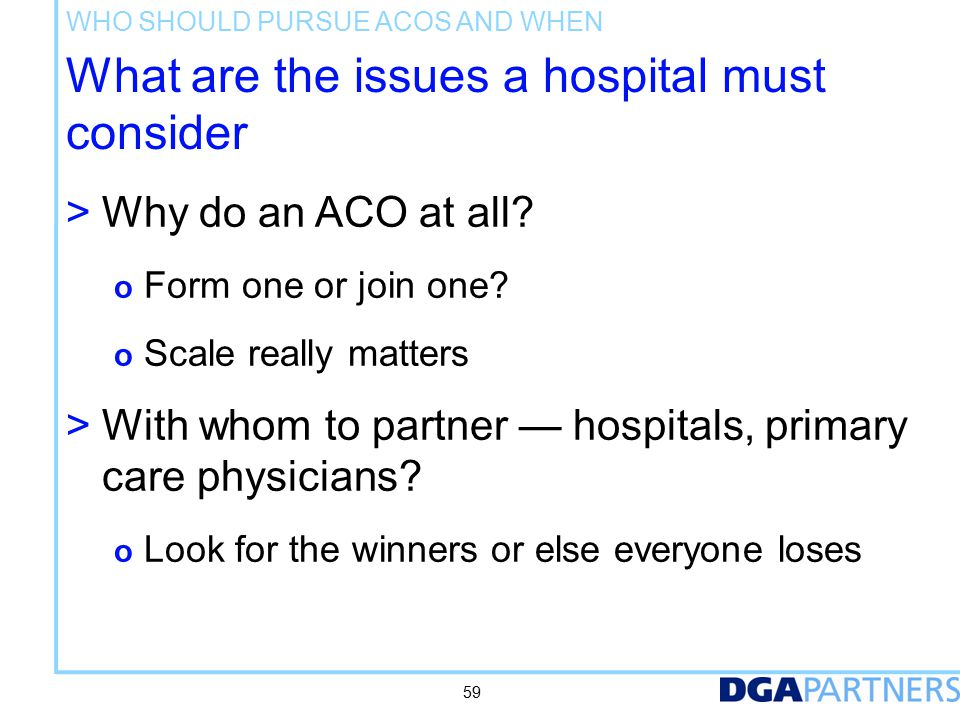 What are the issues a hospital must consider