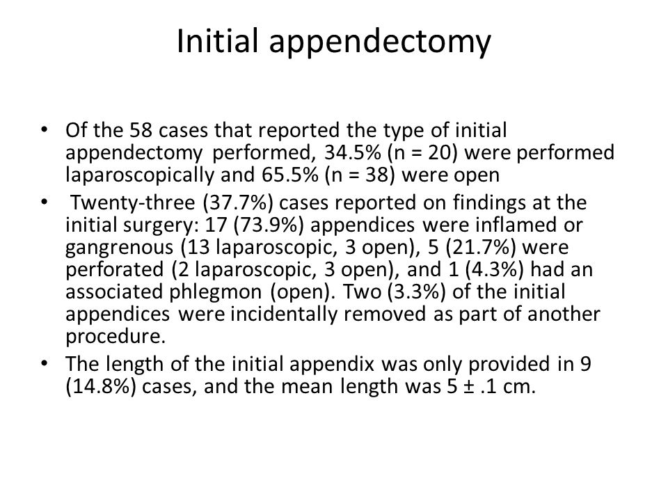 Initial appendectomy