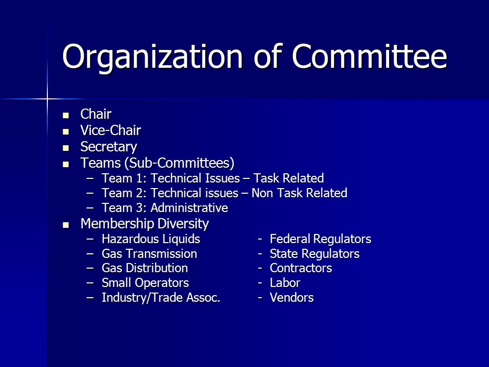 Organization of Committee