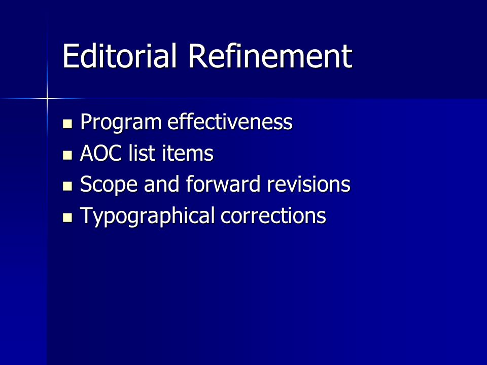 Editorial Refinement Program effectiveness AOC list items