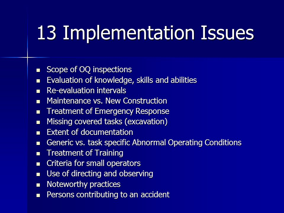 13 Implementation Issues