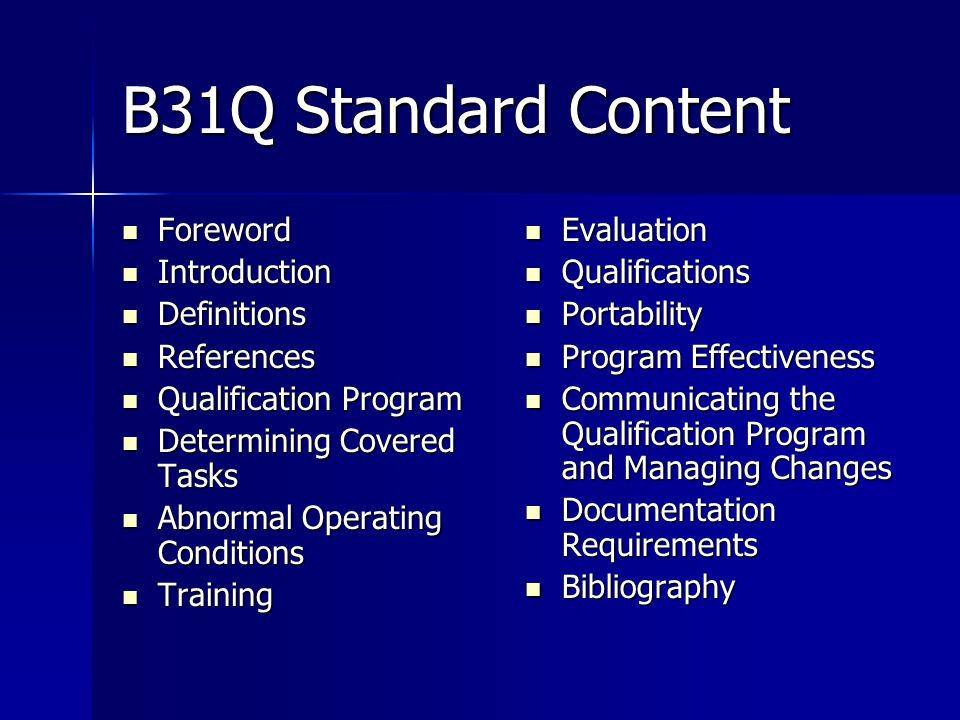B31Q Standard Content Foreword Introduction Definitions References