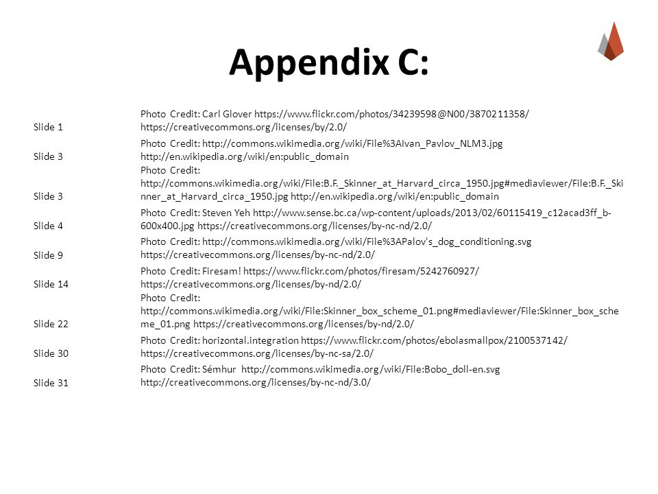 Appendix C: Slide 1. Photo Credit: Carl Glover https://www.flickr.com/photos/34239598@N00/3870211358/