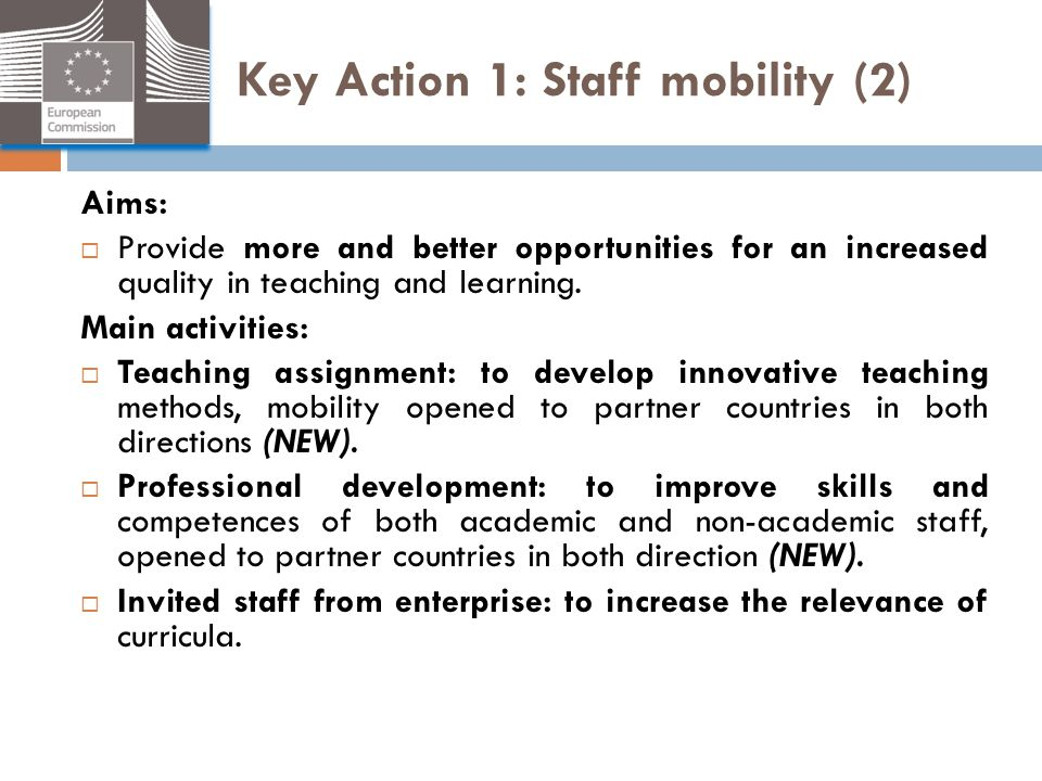Key Action 1: Staff mobility (2)