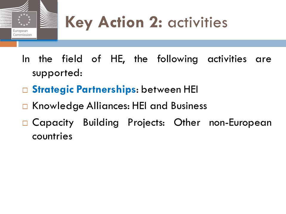 Key Action 2: activities
