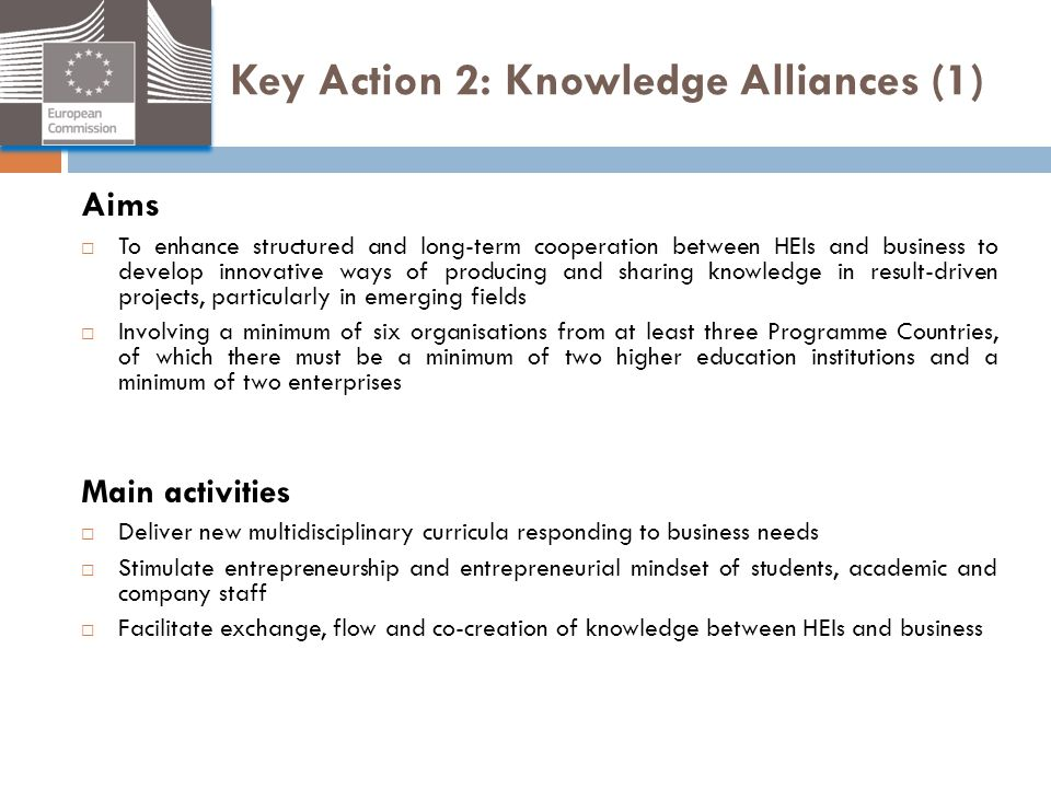 Key Action 2: Knowledge Alliances (1)