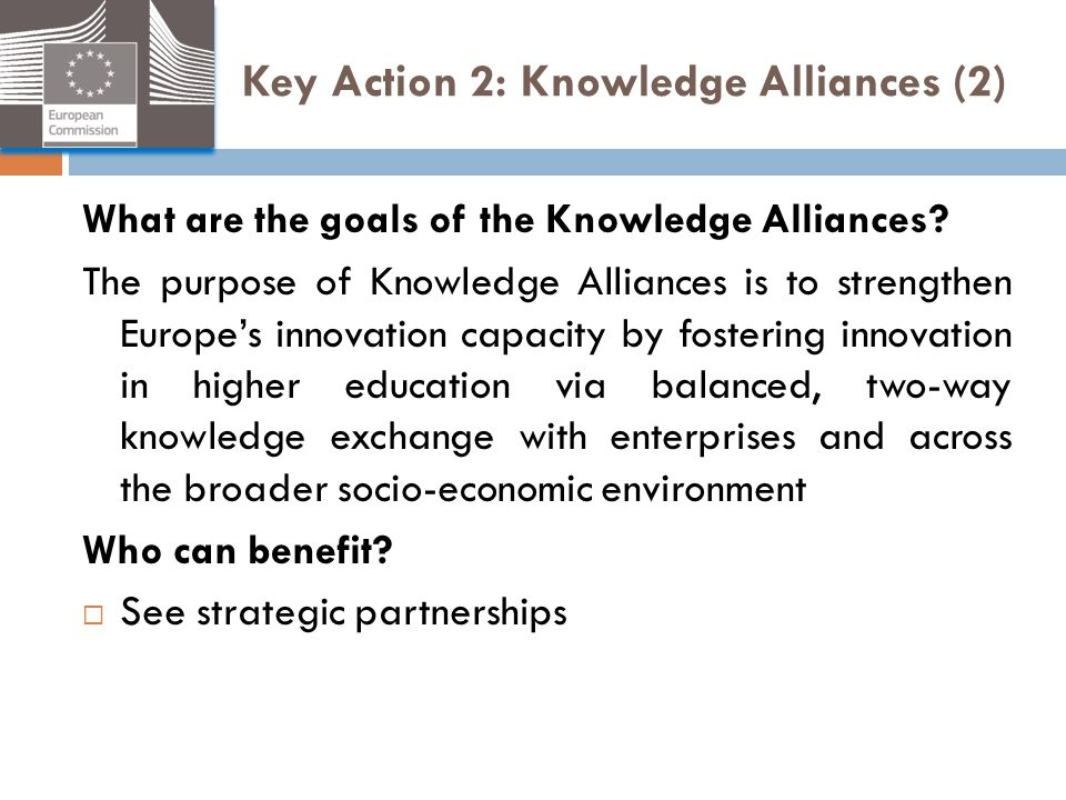 Key Action 2: Knowledge Alliances (2)