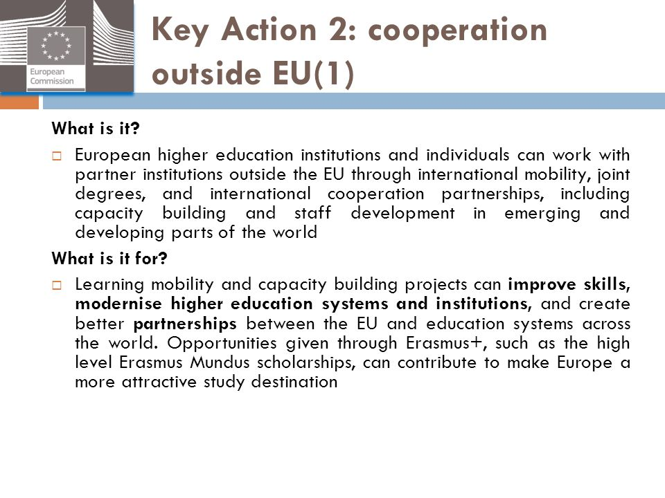Key Action 2: cooperation outside EU(1)