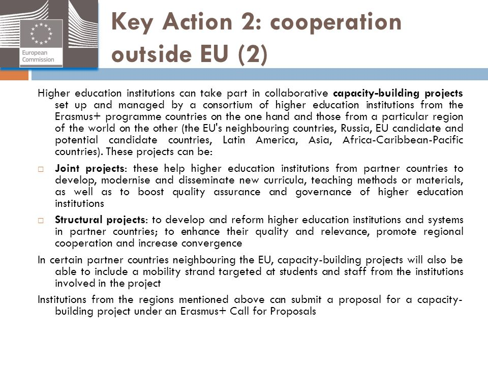 Key Action 2: cooperation outside EU (2)
