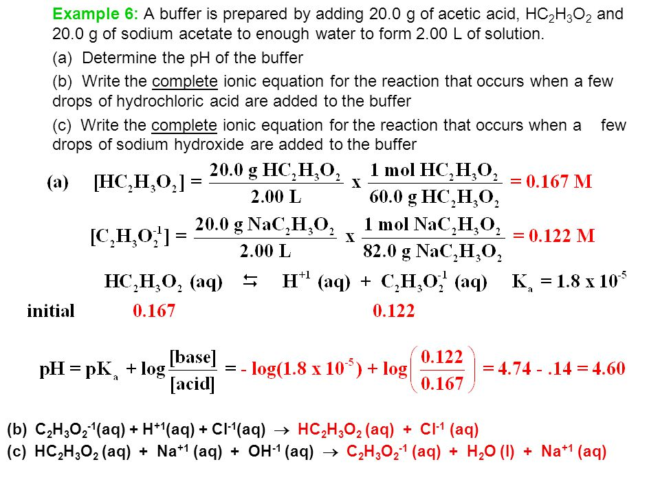 (a) Determine the pH of the buffer
