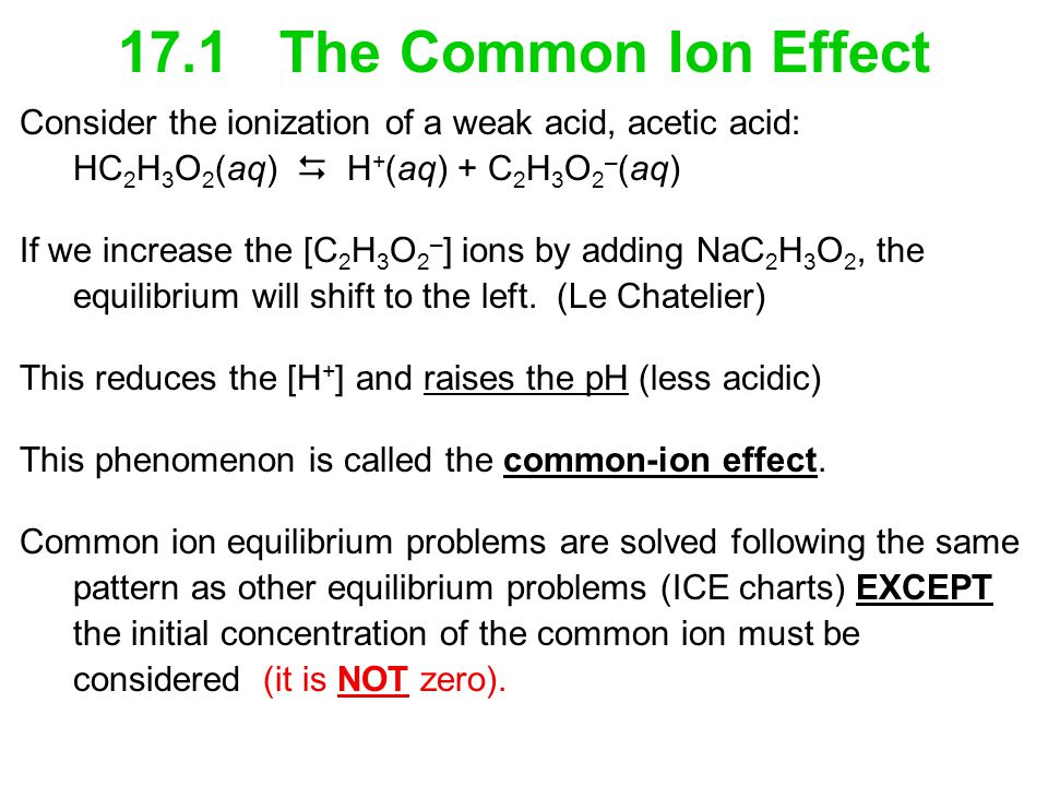 17.1 The Common Ion Effect Consider the ionization of a weak acid, acetic acid: HC2H3O2(aq)  H+(aq) + C2H3O2–(aq)
