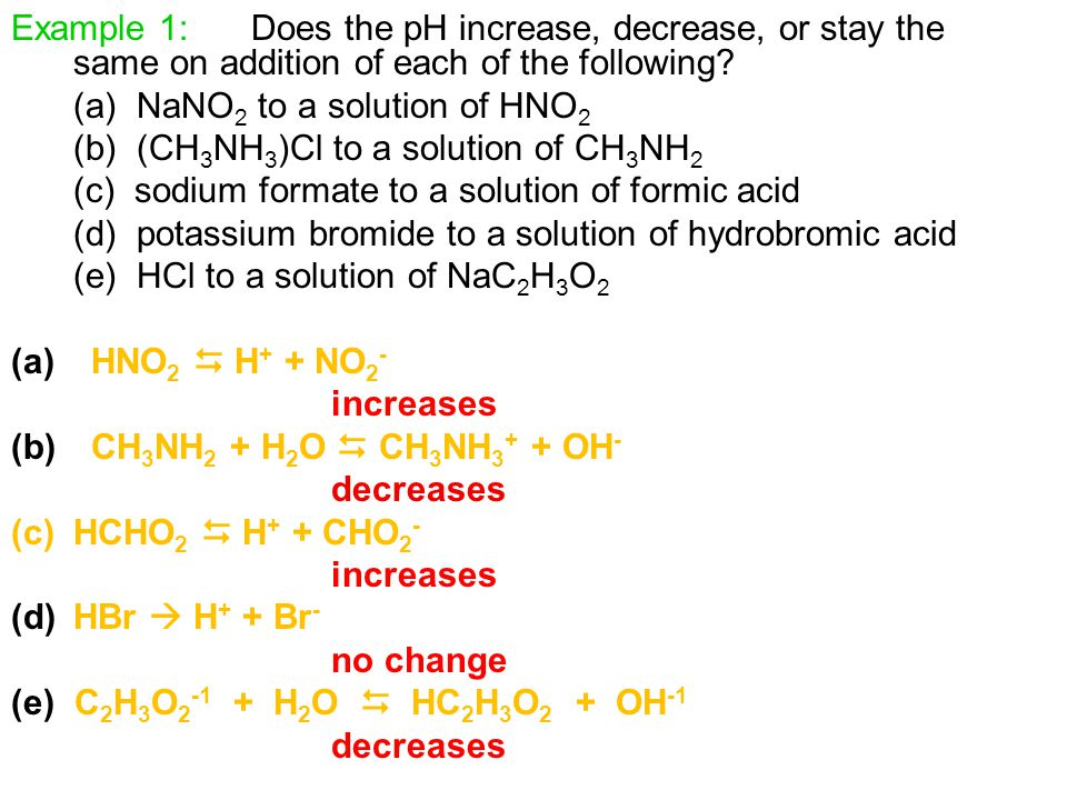 Example 1: Does the pH increase, decrease, or stay the same on addition of each of the following