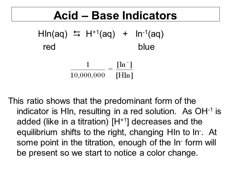 Acid – Base Indicators HIn(aq)  H+1(aq) + In-1(aq) red blue