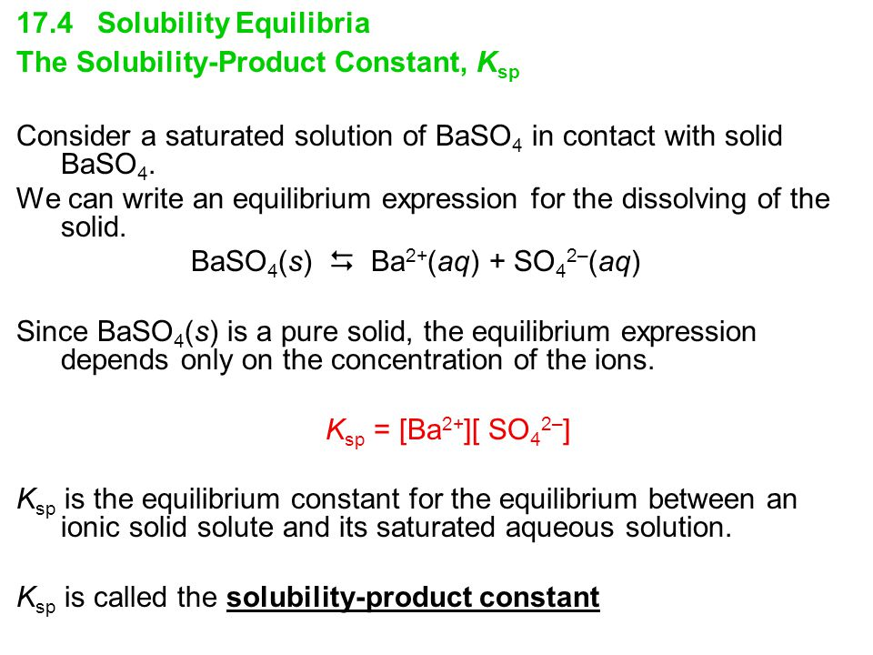 17.4 Solubility Equilibria