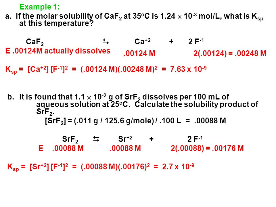 Example 1: a. If the molar solubility of CaF2 at 35oC is 1.24  10-3 mol/L, what is Ksp at this temperature