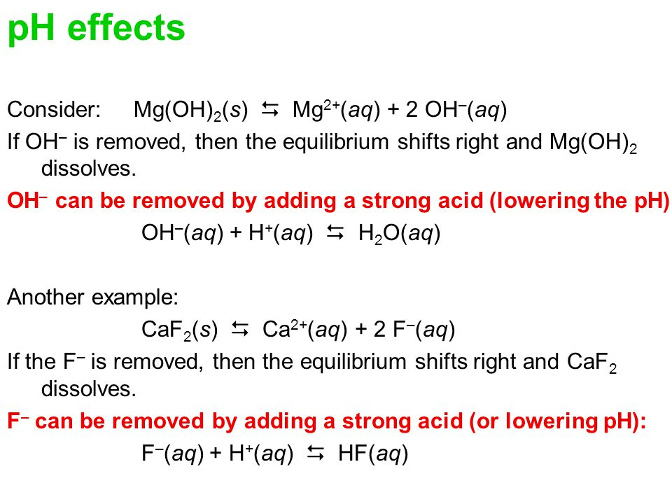 pH effects Consider: Mg(OH)2(s)  Mg2+(aq) + 2 OH–(aq)