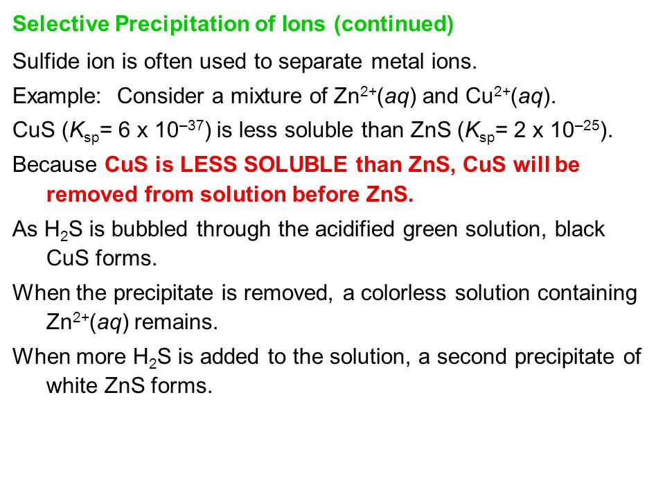 Selective Precipitation of Ions (continued)