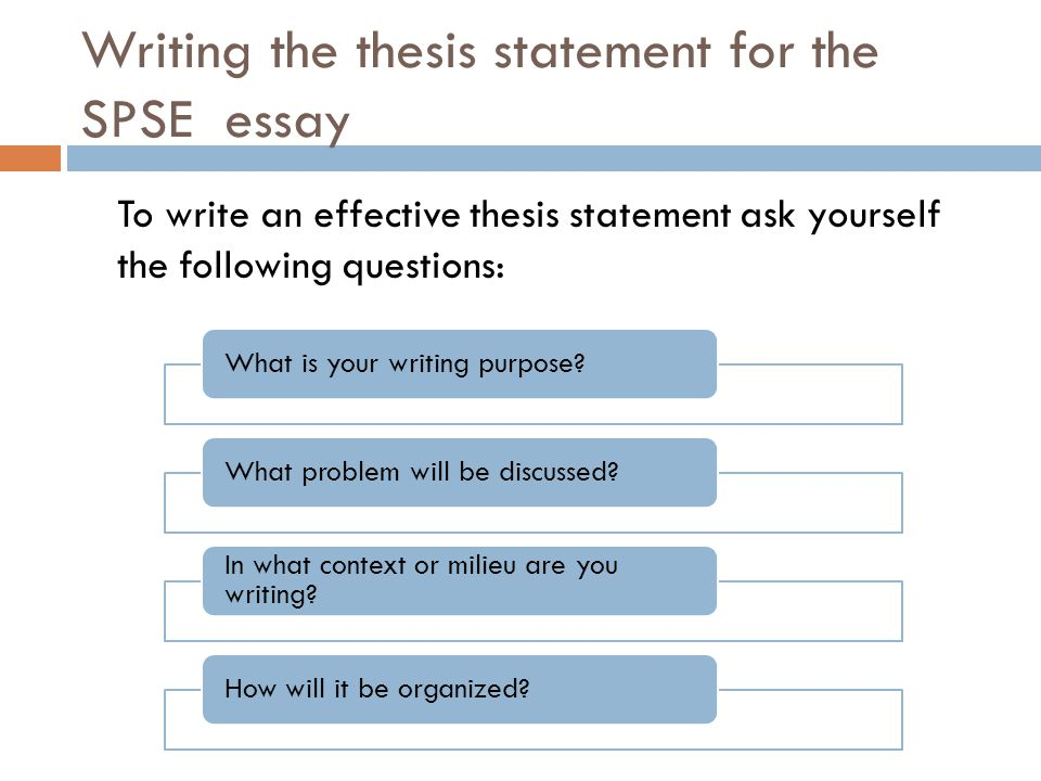 Writing the thesis statement for the SPSE essay