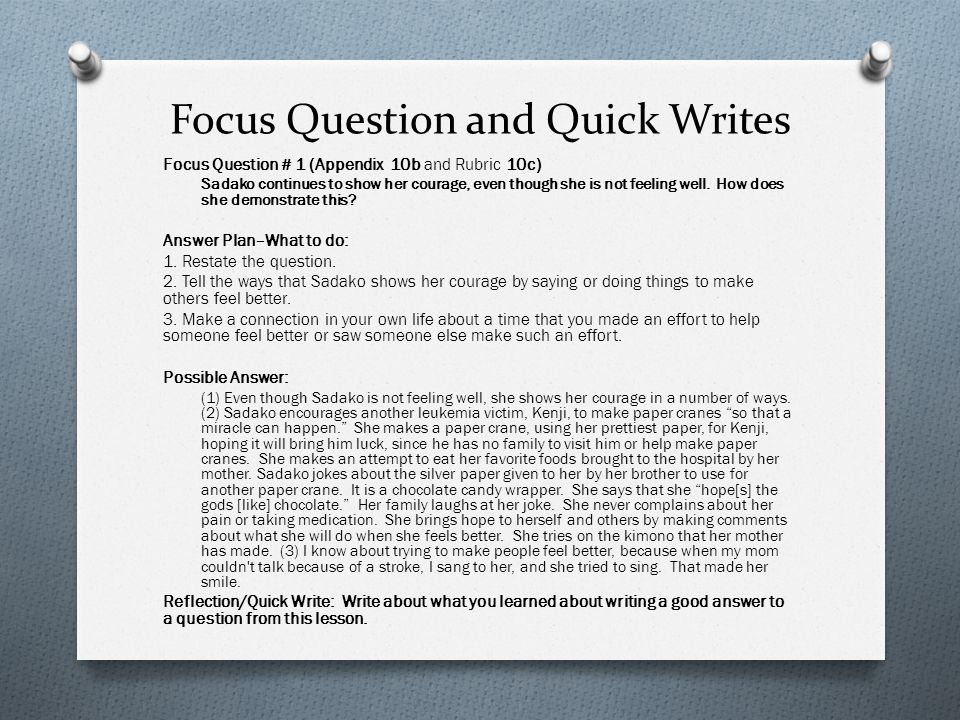 Focus Question and Quick Writes