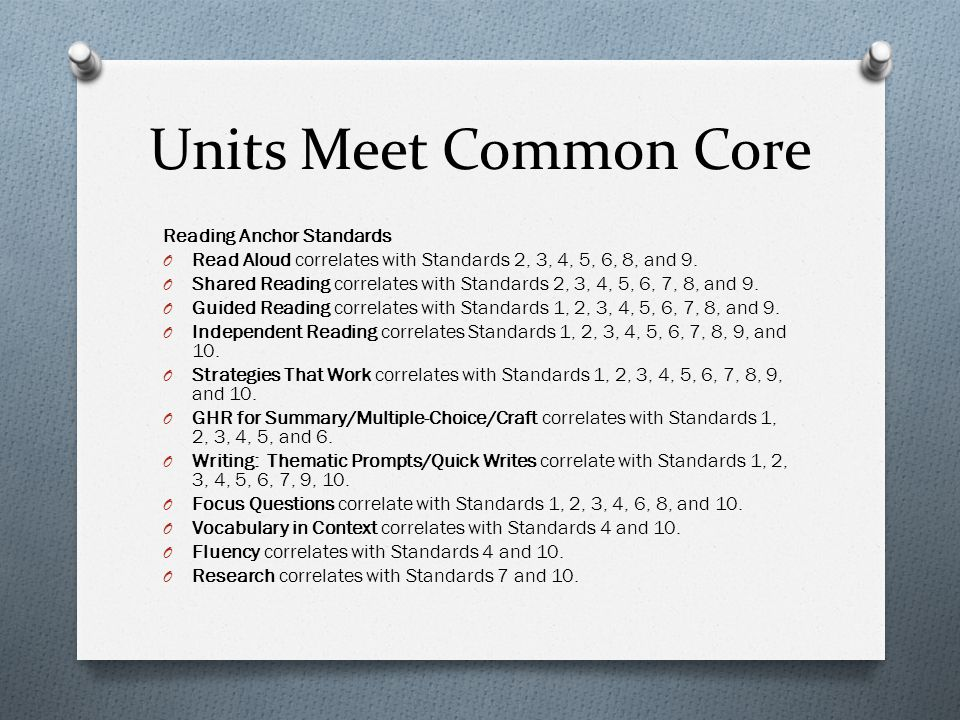 Units Meet Common Core Reading Anchor Standards