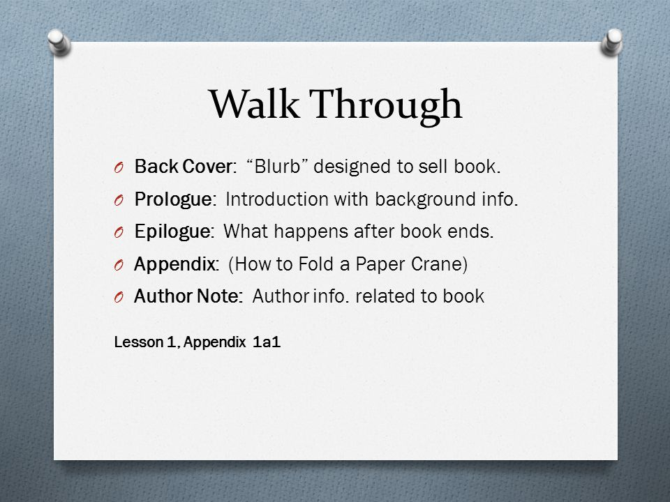 Walk Through Back Cover: Blurb designed to sell book.