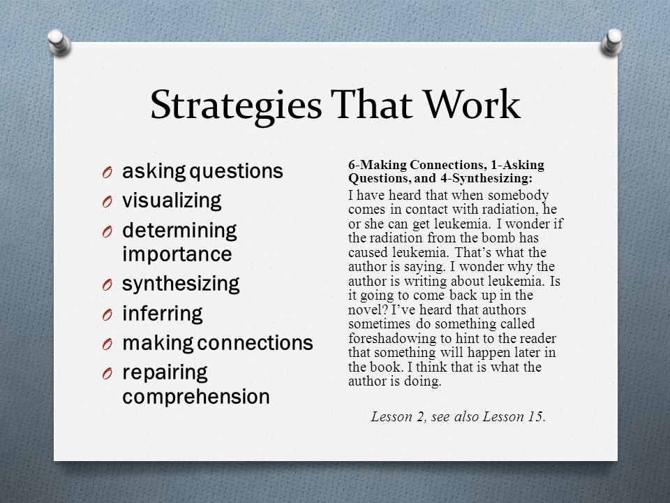 Strategies That Work asking questions visualizing