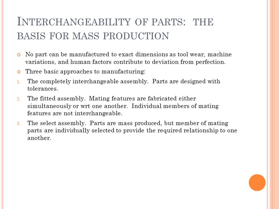Interchangeability of parts: the basis for mass production