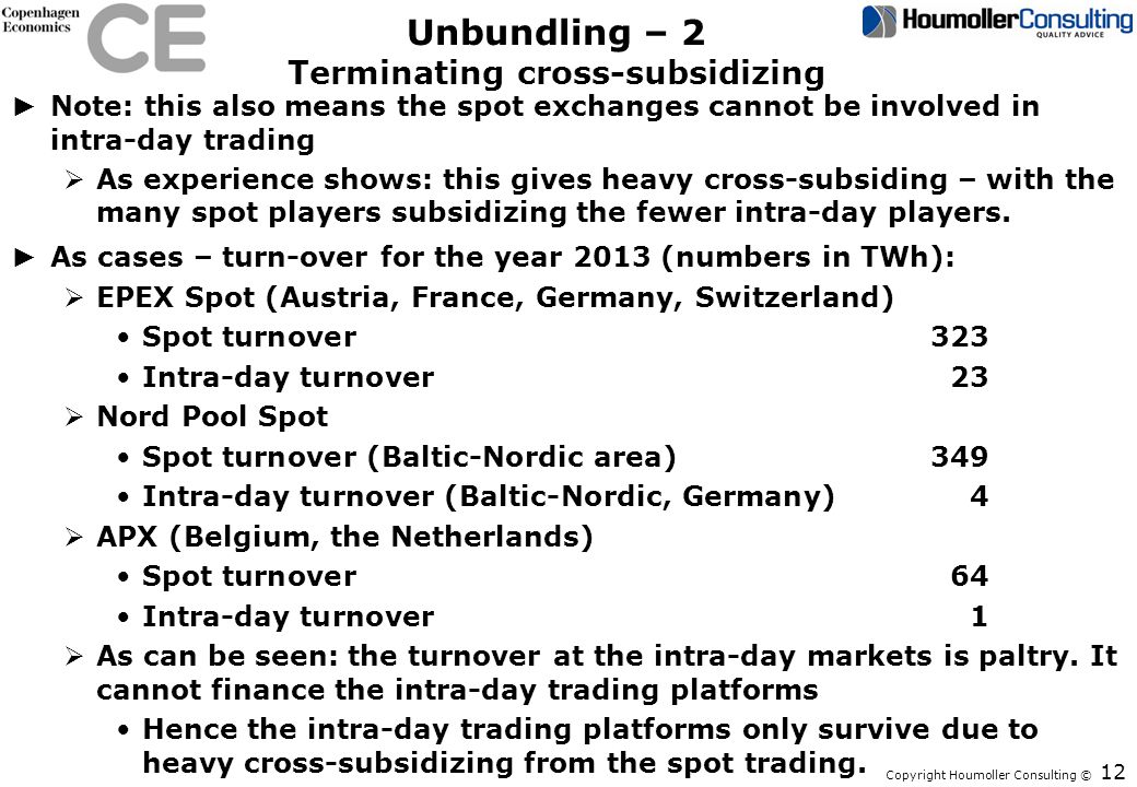 Unbundling – 2 Terminating cross-subsidizing