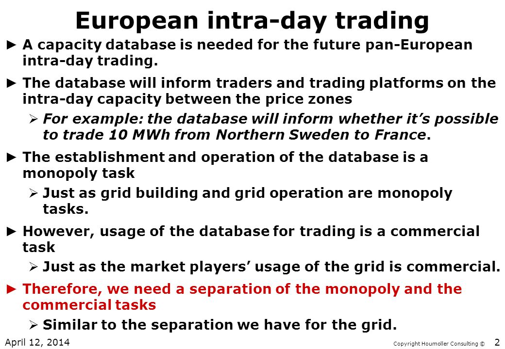 European intra-day trading