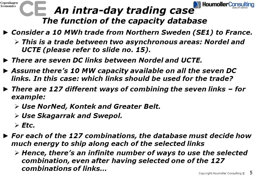 An intra-day trading case The function of the capacity database