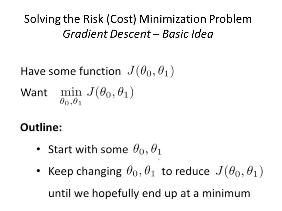 Solving the Risk (Cost) Minimization Problem Gradient Descent – Basic Idea