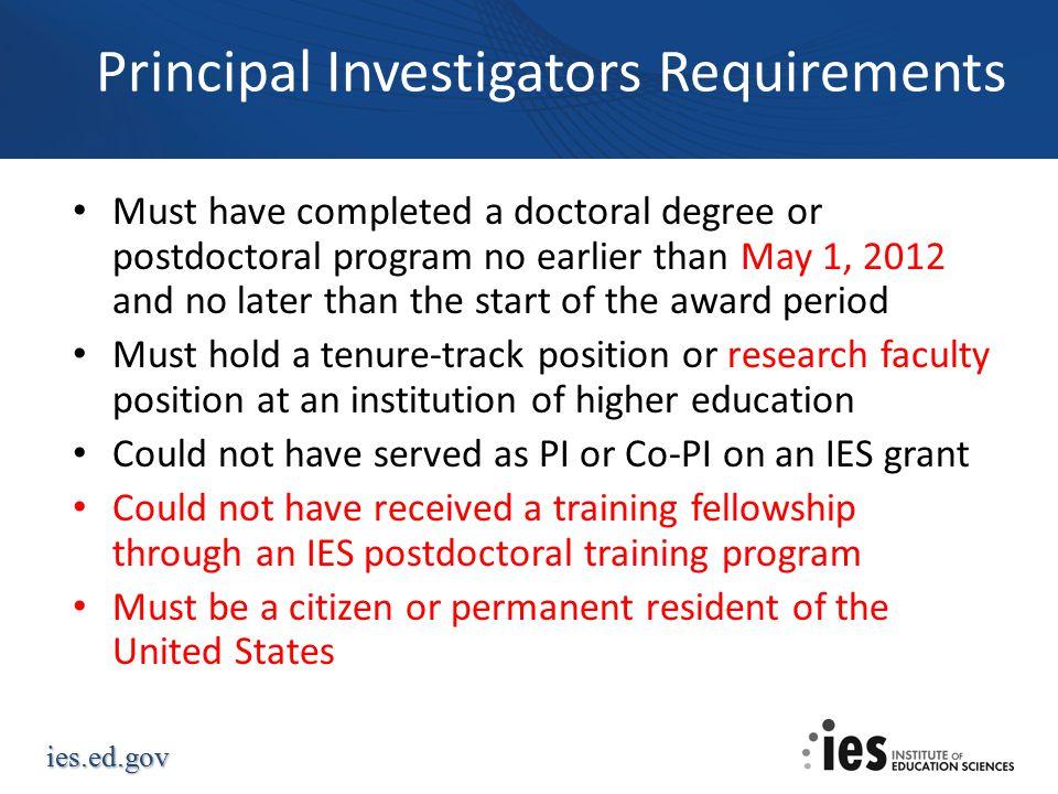 Principal Investigators Requirements