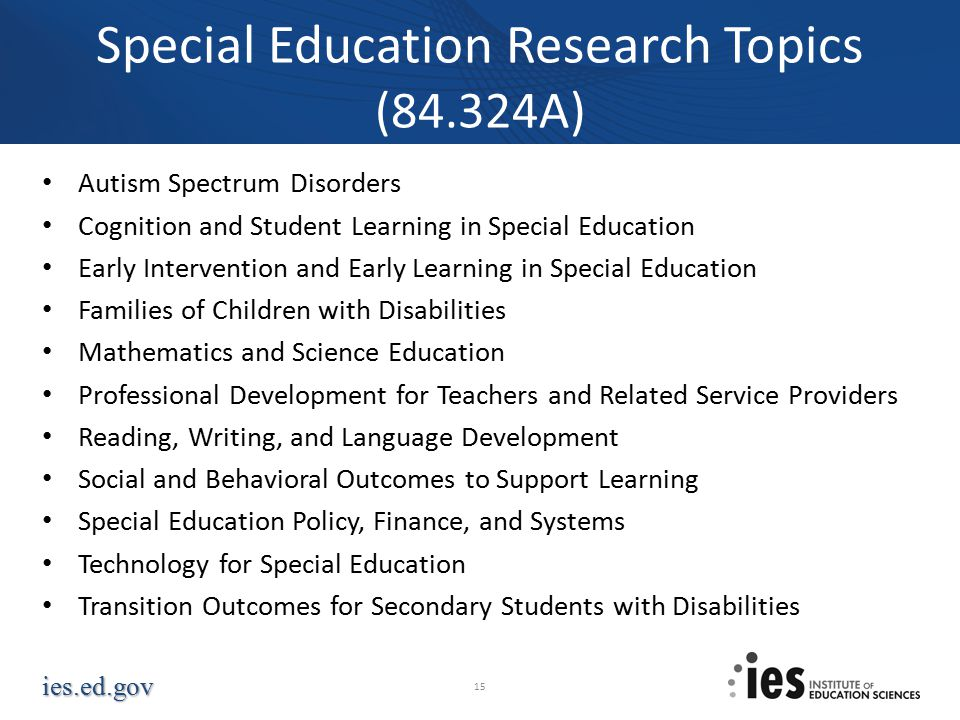Special Education Research Topics (84.324A)