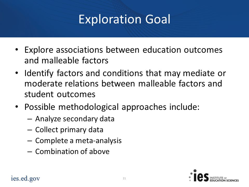 Exploration Goal Explore associations between education outcomes and malleable factors.
