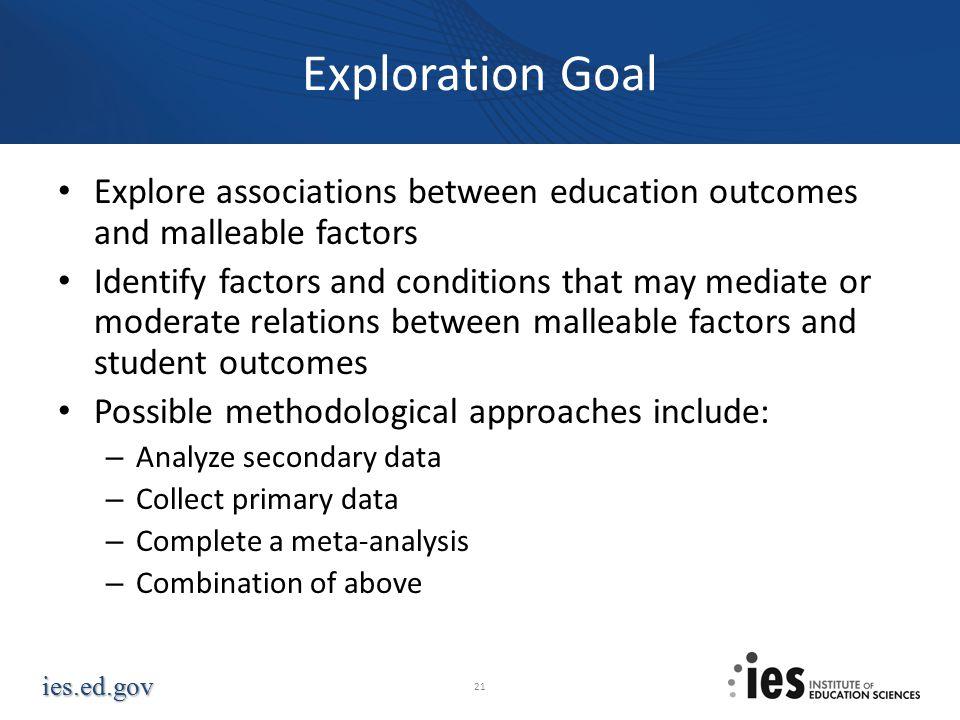 Exploration Goal Explore associations between education outcomes and malleable factors.