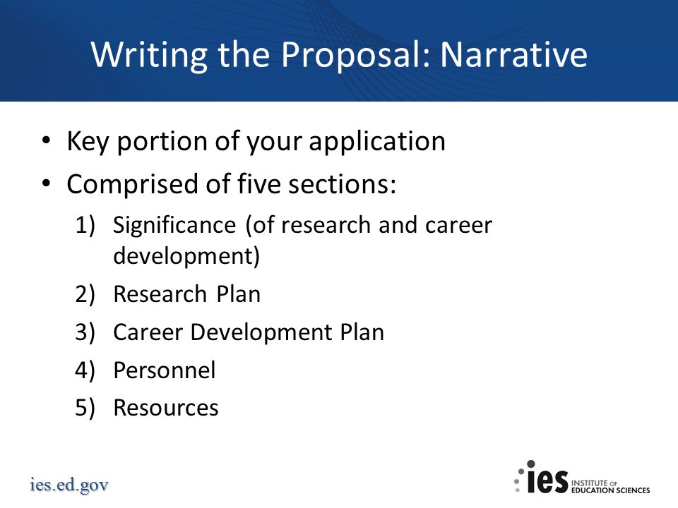 Writing the Proposal: Narrative