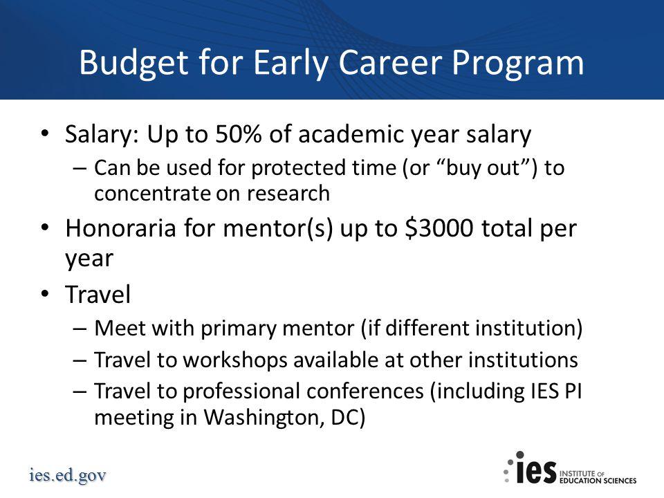 Budget for Early Career Program