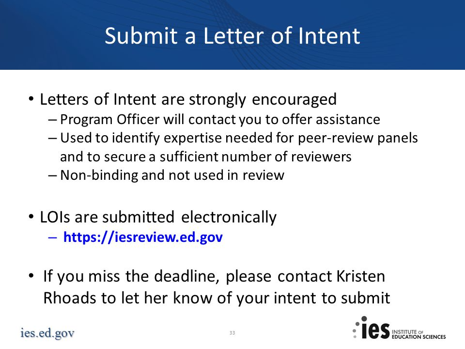 Submit a Letter of Intent