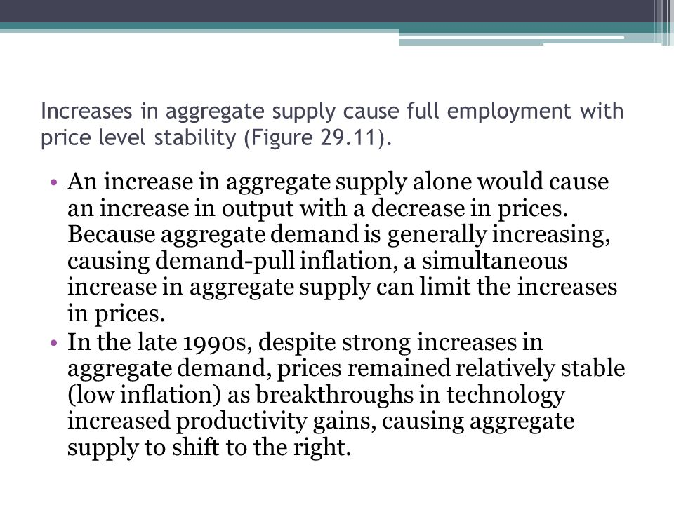 Increases in aggregate supply cause full employment with price level stability (Figure 29.11).