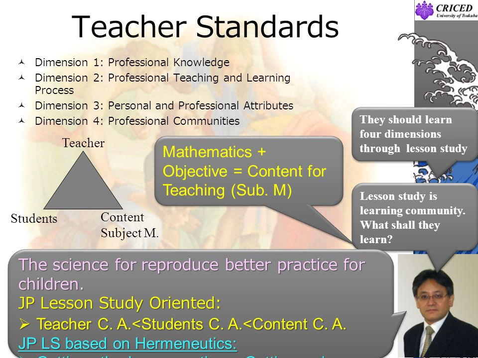 Teacher Standards Dimension 1: Professional Knowledge. Dimension 2: Professional Teaching and Learning Process.