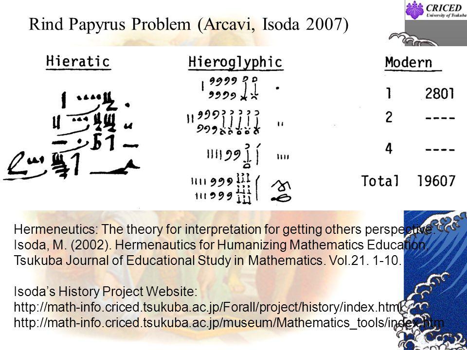 Rind Papyrus Problem (Arcavi, Isoda 2007)