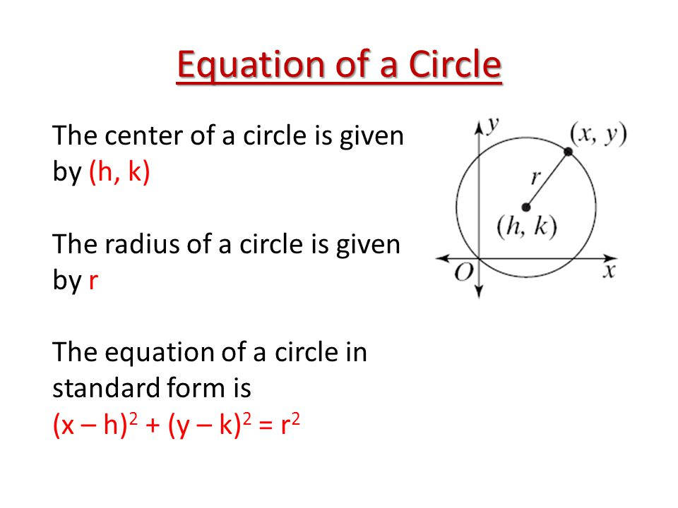 Equation of a Circle The center of a circle is given by (h, k)