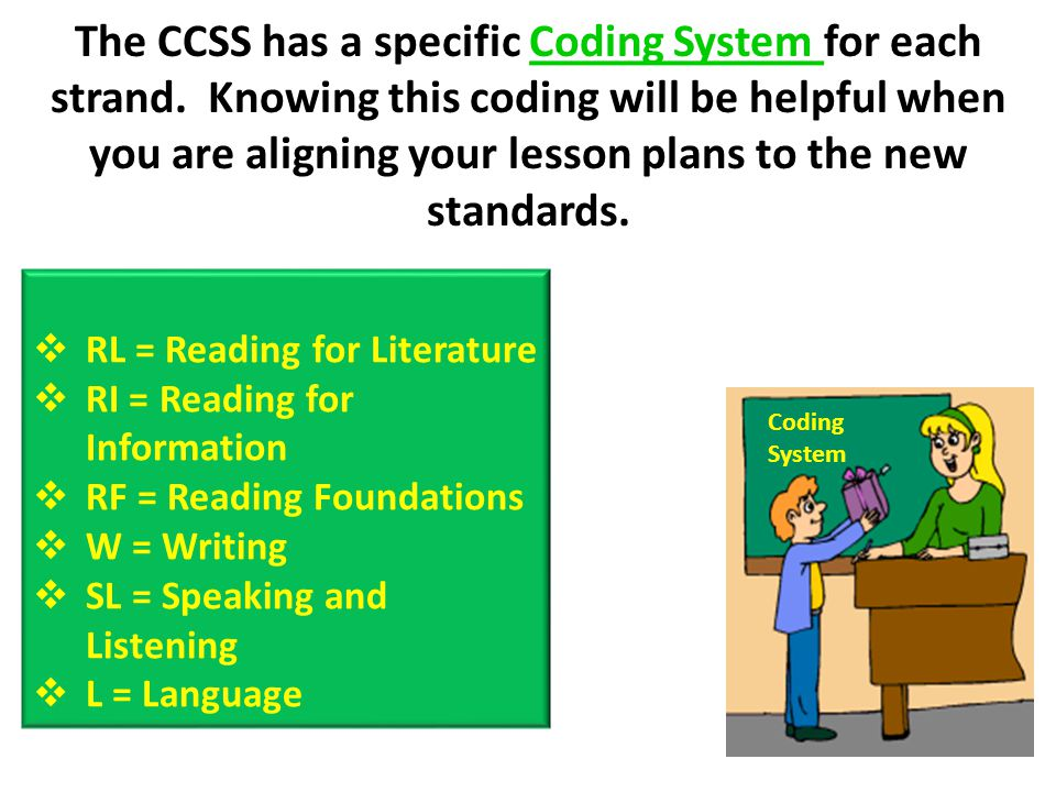 The CCSS has a specific Coding System for each strand